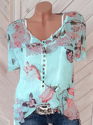 Decorative Button Floral Print Short Sleeve T-Shirts