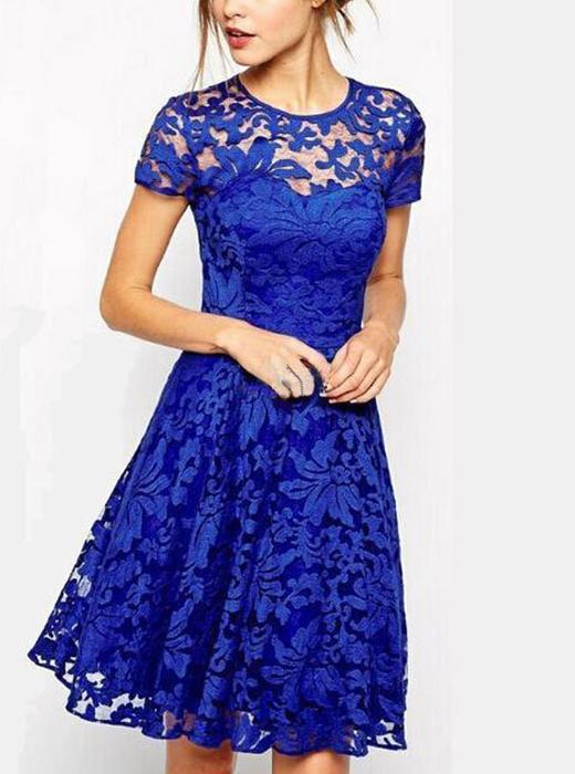 Round Collar Hollowed-out Lace Short Sleeve Dress