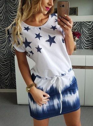 Round Collar Multicolored Star Print Lace-up Dress