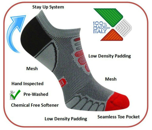 Eurosock, Running Socks, Ultra Light Weight, Lightly Padded Creates High Performance Protection, Moisture Control - 6809