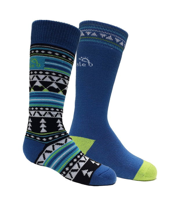 Bridgedale Kids Merino Ski Socks - 2 Pack, Black/Blue, Small