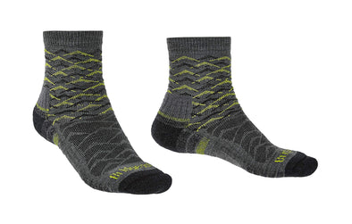 Bridgedale 710096 Men's Lightweight Ankle Height Merino Endurance Socks, Large, Grey/Lime