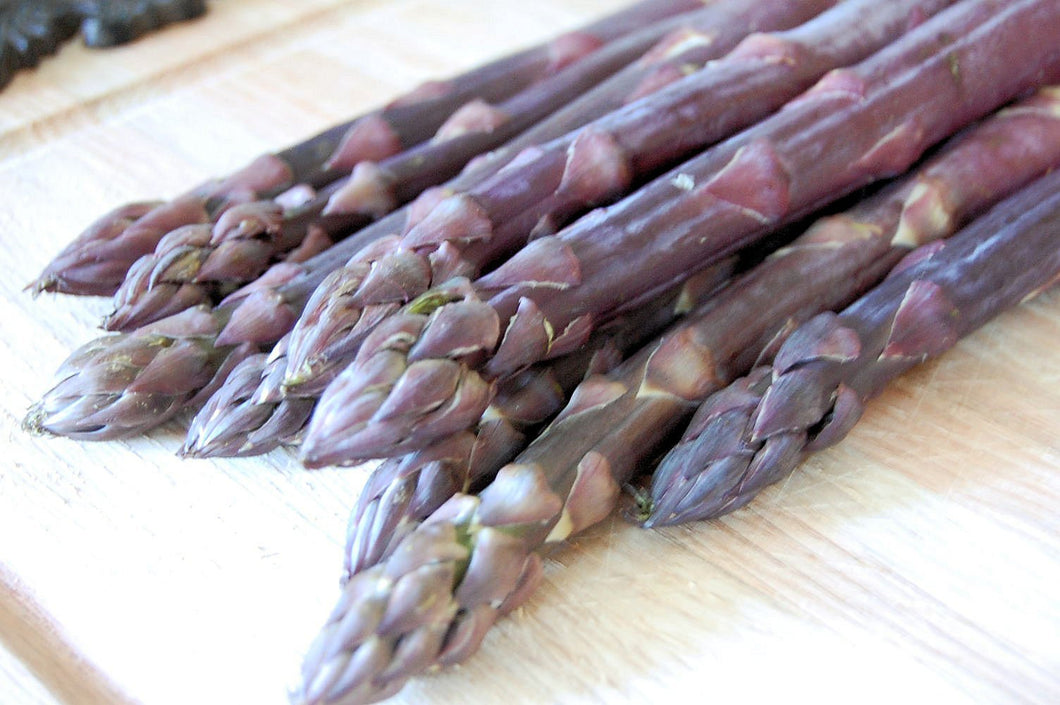 Organic Stewarts Purple Asparagus Seeds - A Very Sweet, Deep Purple Asparagus Variety- Large Spears Tipped in Light Purple