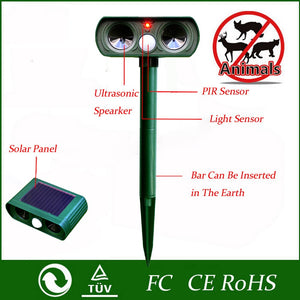 2Pcs Solar Powered Ultrasonic Animals Repeller Cat Dog Deterrent Scarer Repellent for Outdoor Use Garden Supplies