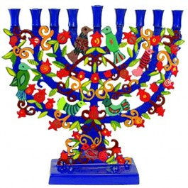 Hanukkiah - Painted Metal Lazer Cut Hanukkah Menorah