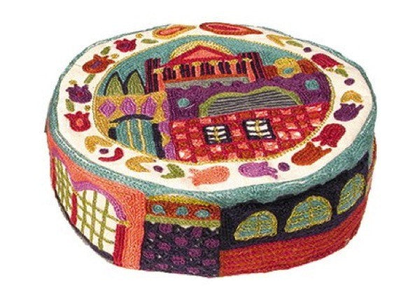 Silk Embroidered Kippah - Jerusalem in Color