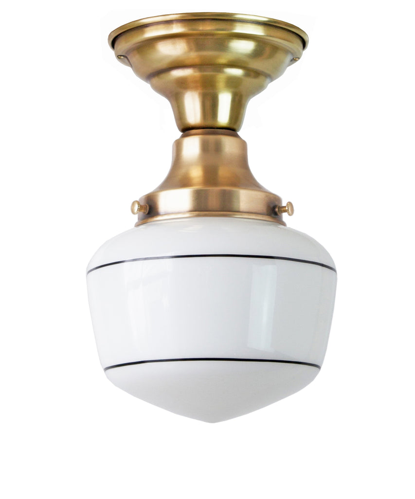 Traditional Schoolhouse Ceiling Fixture With Stripe 6