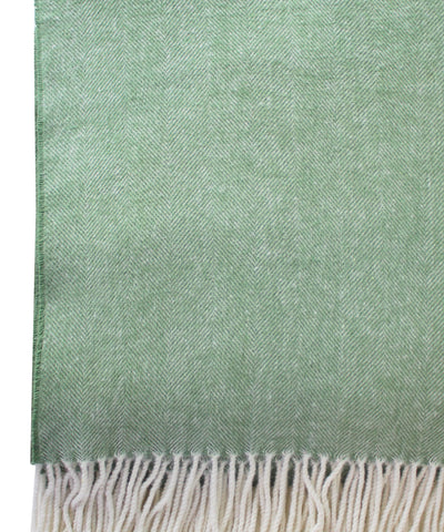Italian Herringbone Throw Blanket, Green