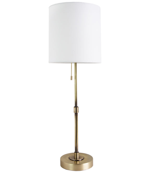 Adams Tall Table Lamp with Linen Shade, Antique Brass