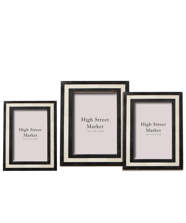 Horn & Bone Striped Frame (3 sizes)
