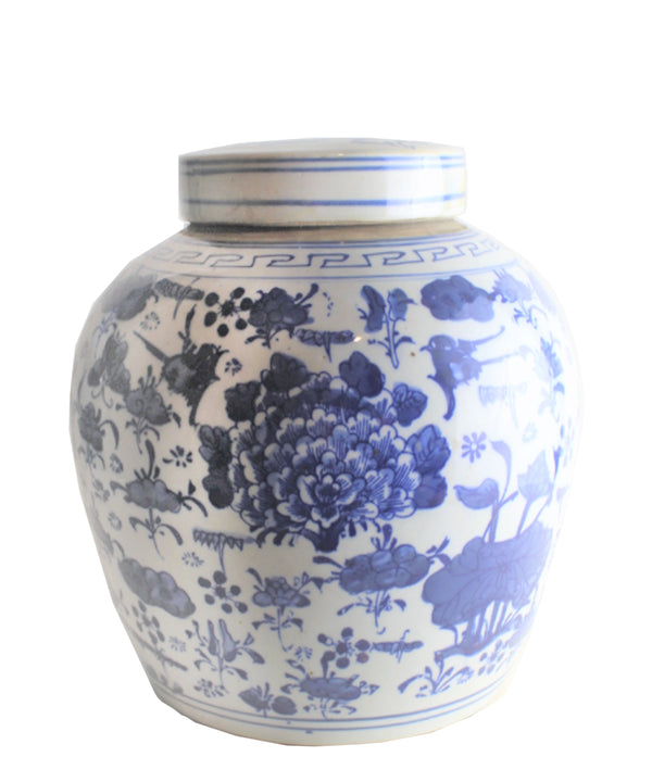 "Blue & White Ginger Jar, 10"" Lotus"