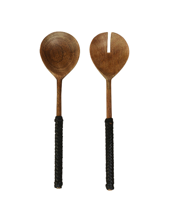 Barton Leather Wrapped Serving Set, Teak & Black Leather