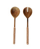 Barton Leather Wrapped Serving Set, Teak & Natural Leather