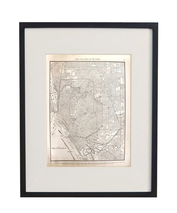 Vintage Framed City Map, Buffalo