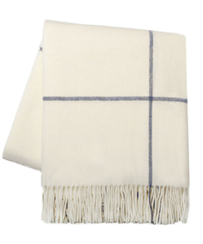 Italian Cashmere Throw Blanket, Ecru & Navy Windowpane