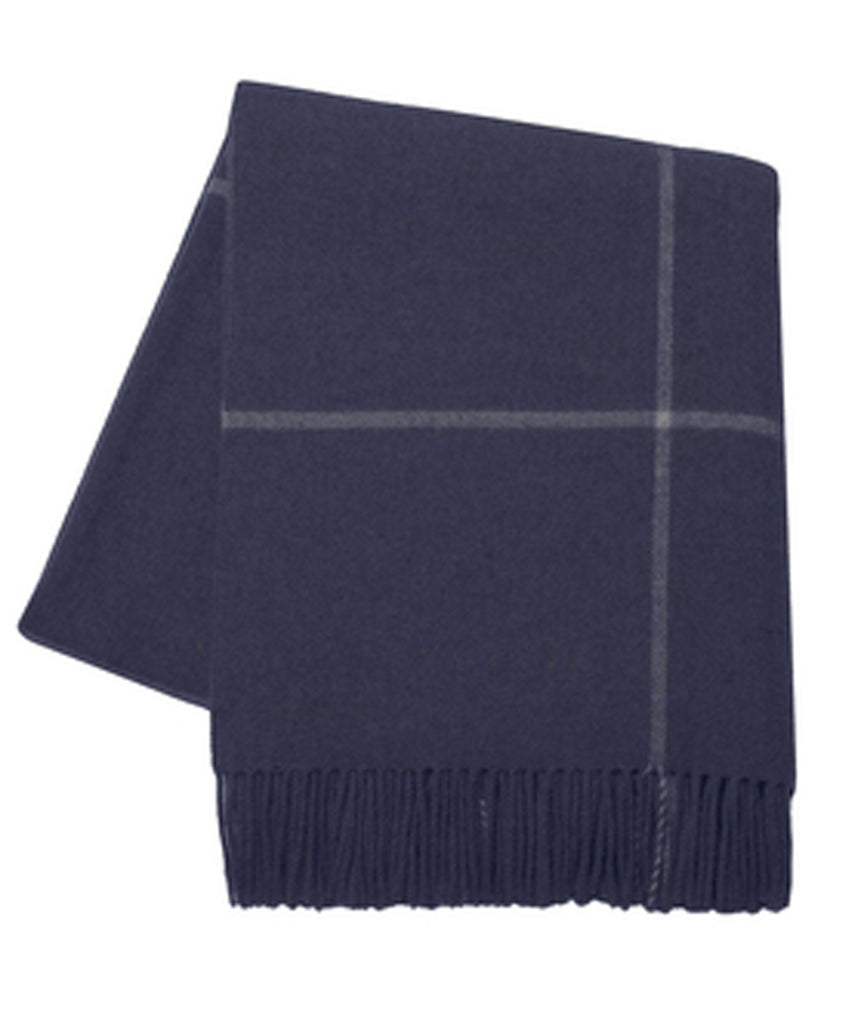 Italian Cashmere Throw Blanket, Navy Windowpane