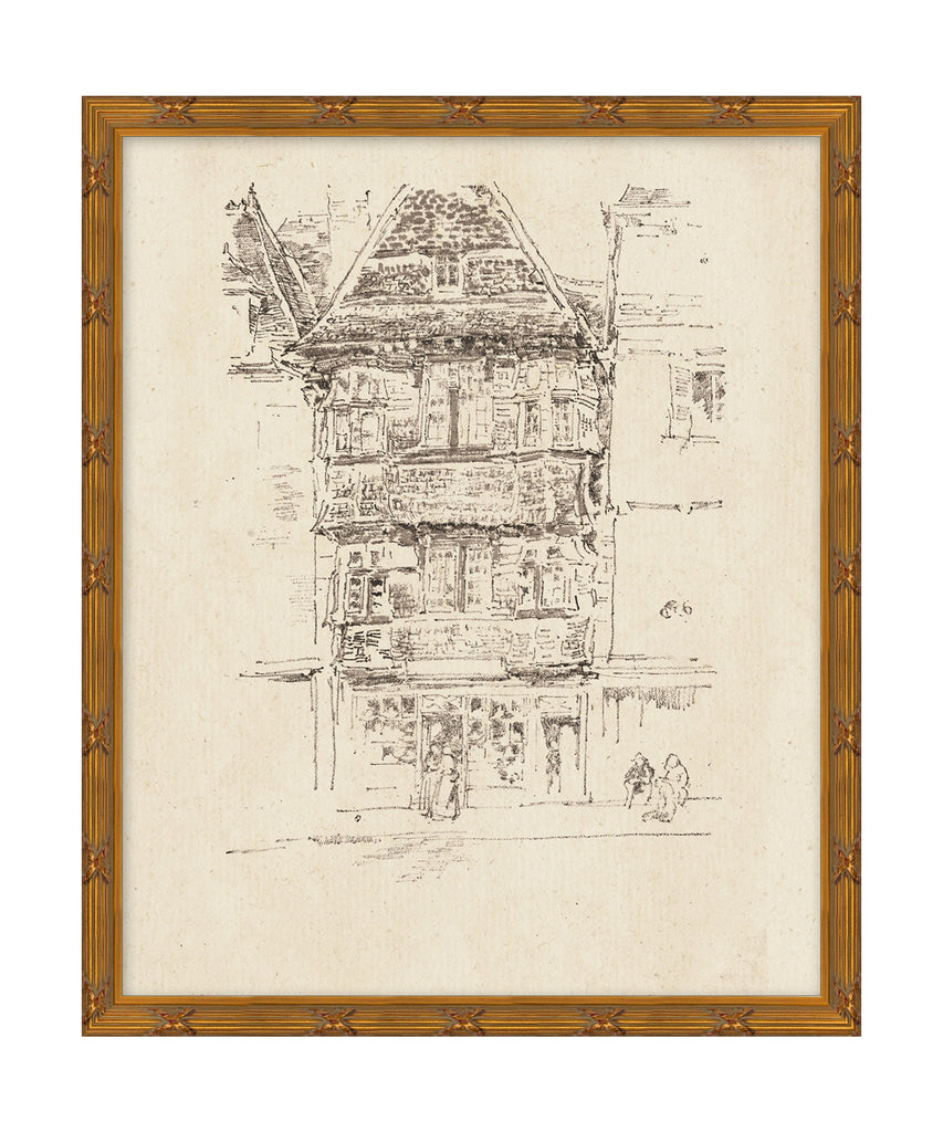 City Townhouse Etching Sketch