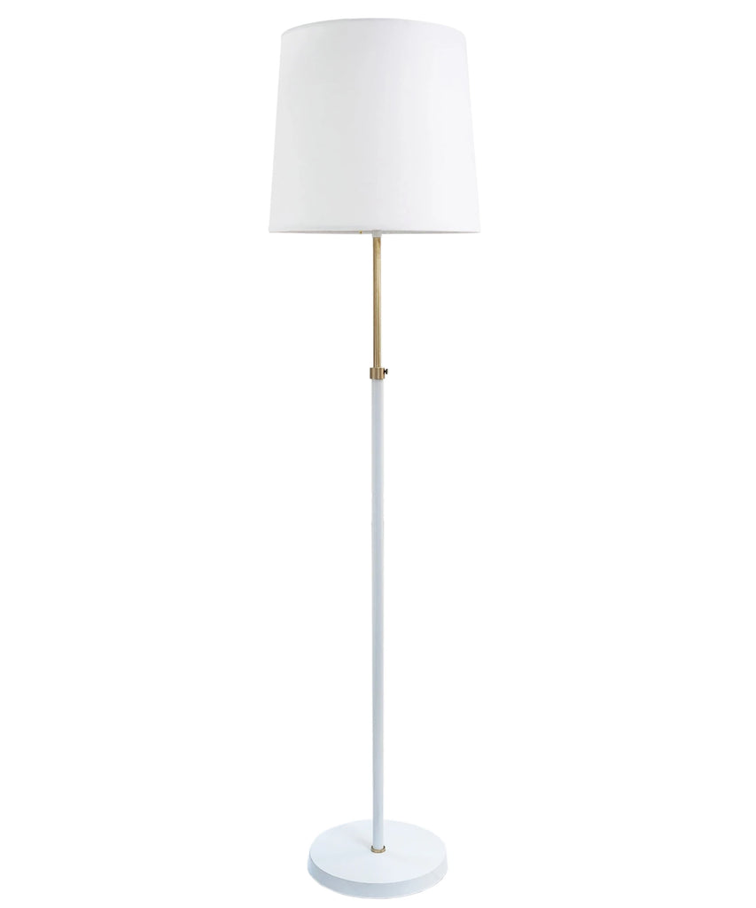 Gilbert Adjustable Floor Lamp, White and Antique Brass
