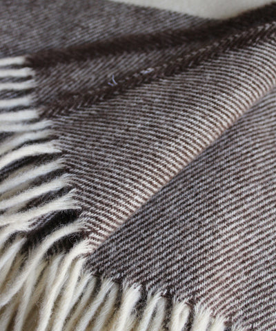 Lodge Stripe Throw Blanket in Coffee/Natural, Faribault Woolen Mill Co.