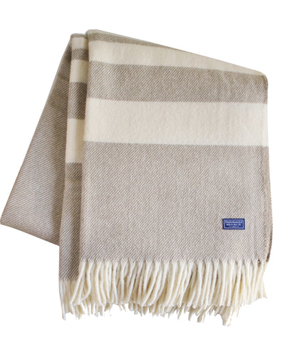 Lodge Stripe Throw Blanket in Wheat/Natural, Faribault Woolen Mill Co.
