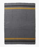 Foot Soldier Military Wool Blanket, Gray/Gold/Black Stripe, Faribault Woolen Mill Co.