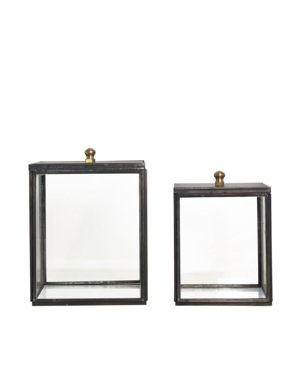 Metal Frame Square Glass Boxes