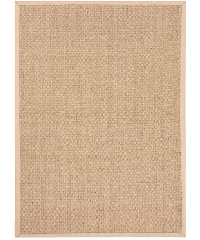 Basket Weave Seagrass Rug, Tan Border