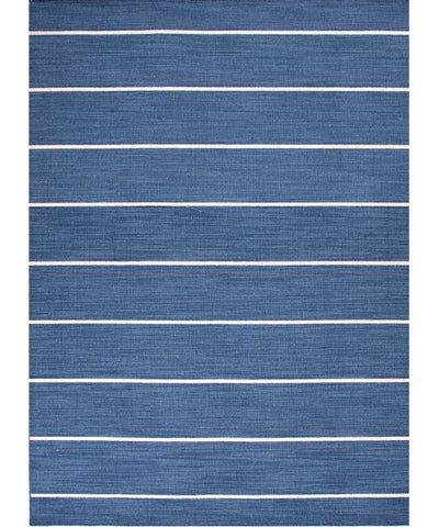 Cape Cod Stripe Flat Weave Rug, Denim