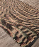 Eos Herringbone Jute Rug with Leather Binding