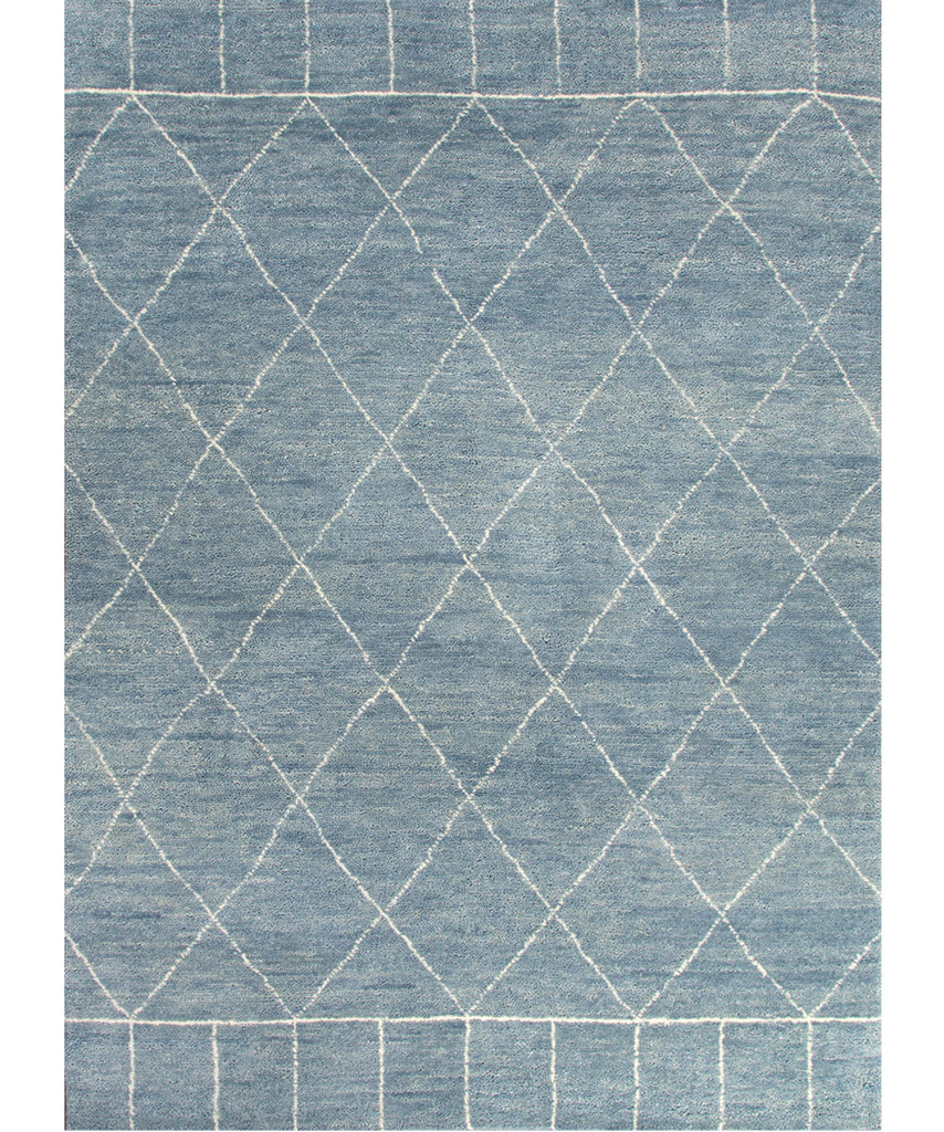 Tangier Hand Knotted Wool Rug, Slate Blue