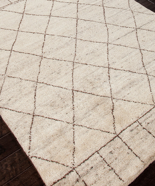 Pasargad Ny Persian Hand Knotted Wool Light Blue Ivory: Tangier Hand-Knotted Wool Rug, Ivory