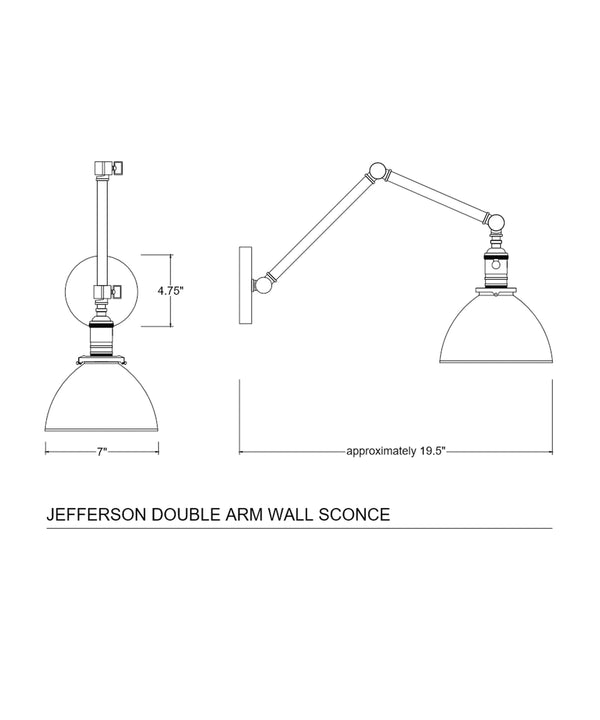 Jefferson Double Arm Wall Sconce with Black Enamel Shade, Antique Brass