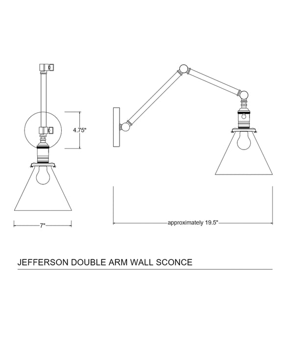 Jefferson Double Arm Wall Sconce with Tapered Clear Glass Shade, Polished Nickel