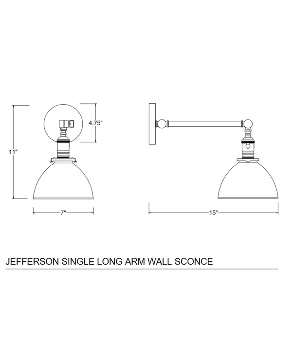 Jefferson Single Long Arm Wall Sconce with Black Enamel Shade, Polished Nickel