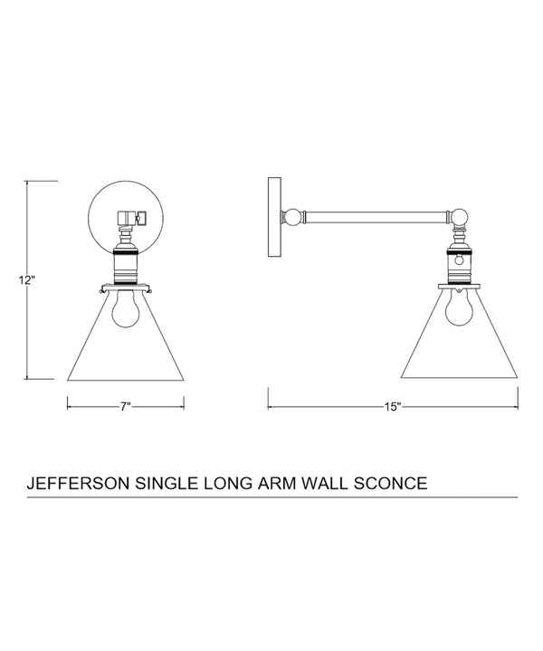 Jefferson Single Long Arm Wall Sconce with Tapered Clear Glass Shade, Antique Brass