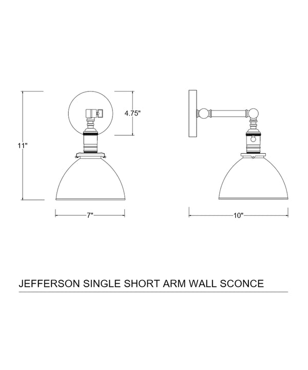 Jefferson Single Short Arm Wall Sconce with White Enamel Shade, Polished Nickel