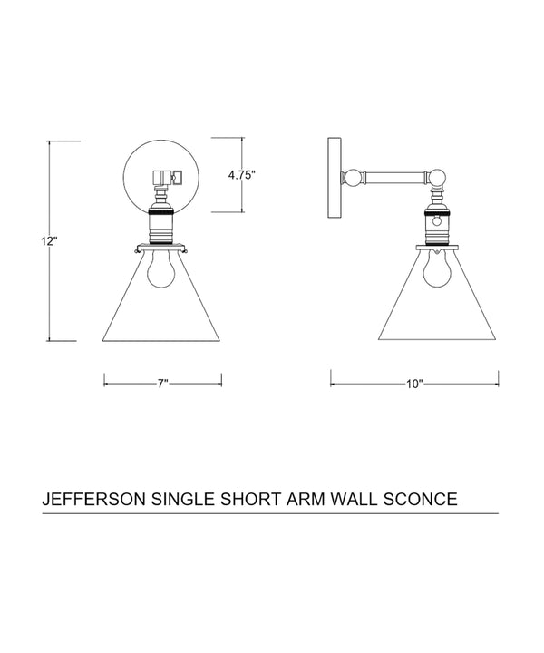 Jefferson Single Short Arm Wall Sconce with Tapered Clear Glass Shade, Polished Nickel