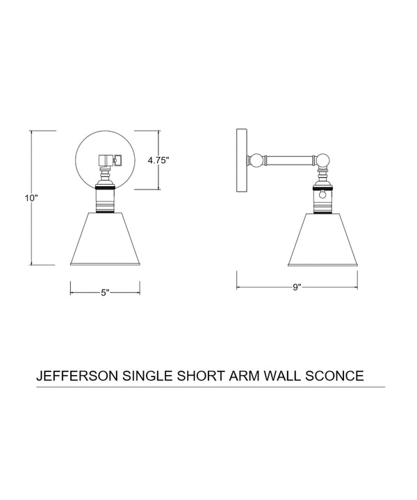 Jefferson Single Short Arm Wall Sconce, Antique Brass
