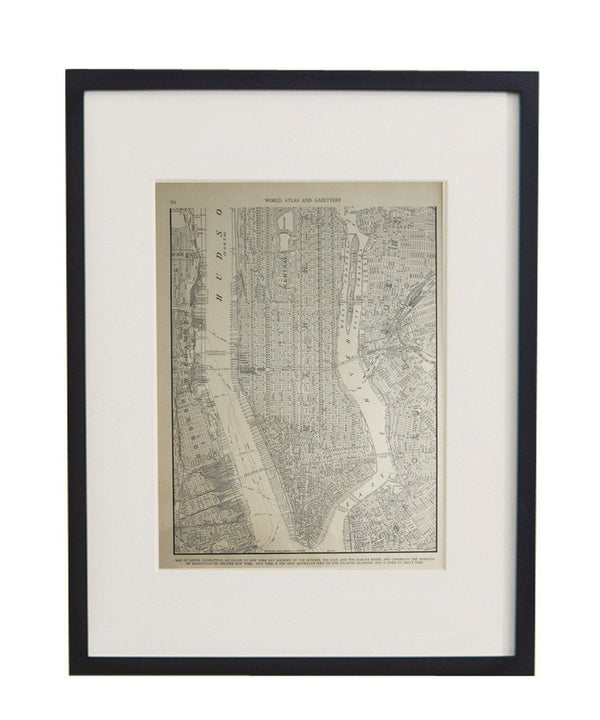 Vintage Framed City Map, Lower Manhattan