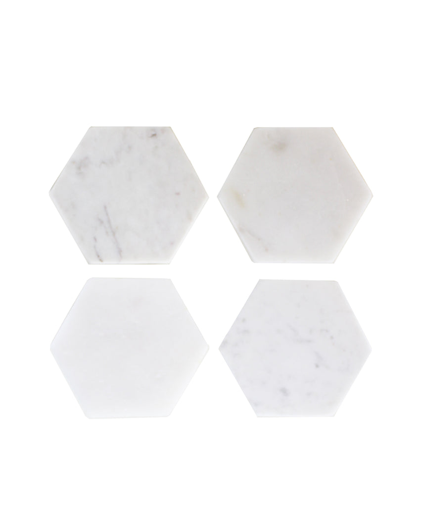 Set of 4 Marble Hex Coasters