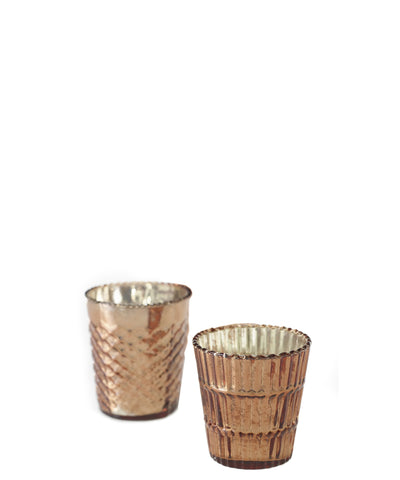 Metallic Rose Gold Votive, Set of 3