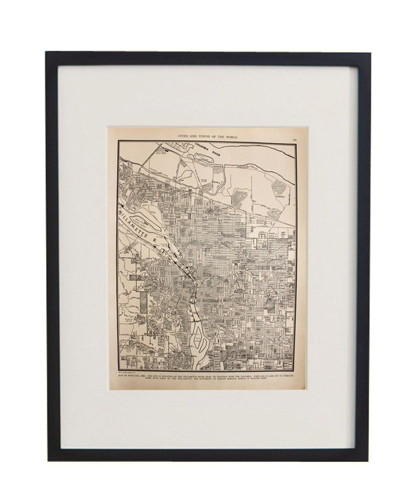 Vintage Framed City Map, Portland