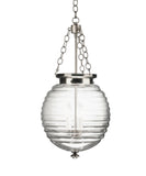 Beehive Glass Pendant, Polished Nickel with Clear Glass