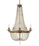 Vintage French Beaded Chandelier, Antique Gold with Frosted Glass
