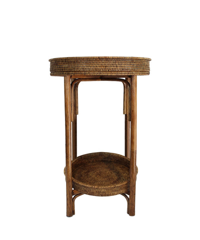 Round Woven Tray Table, Antique Brown