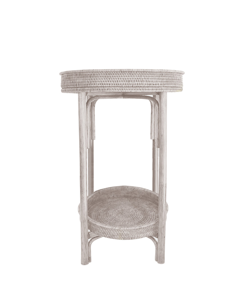 Round Woven Tray Table, White Wash