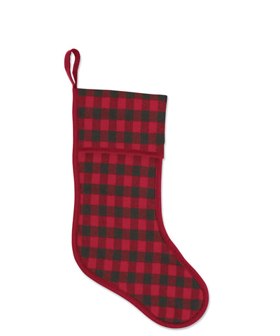 Mini Buffalo Check Wool Stocking, Red/Carbon, Faribault Woolen Mill Co.