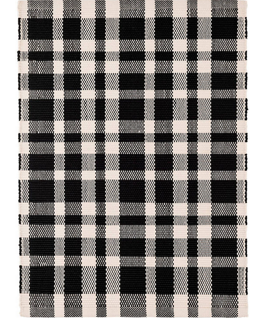 Tattersall Black Plaid Indoor/Outdoor Rug
