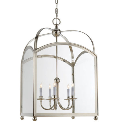 Large Arch Top Lantern, Polished Nickel