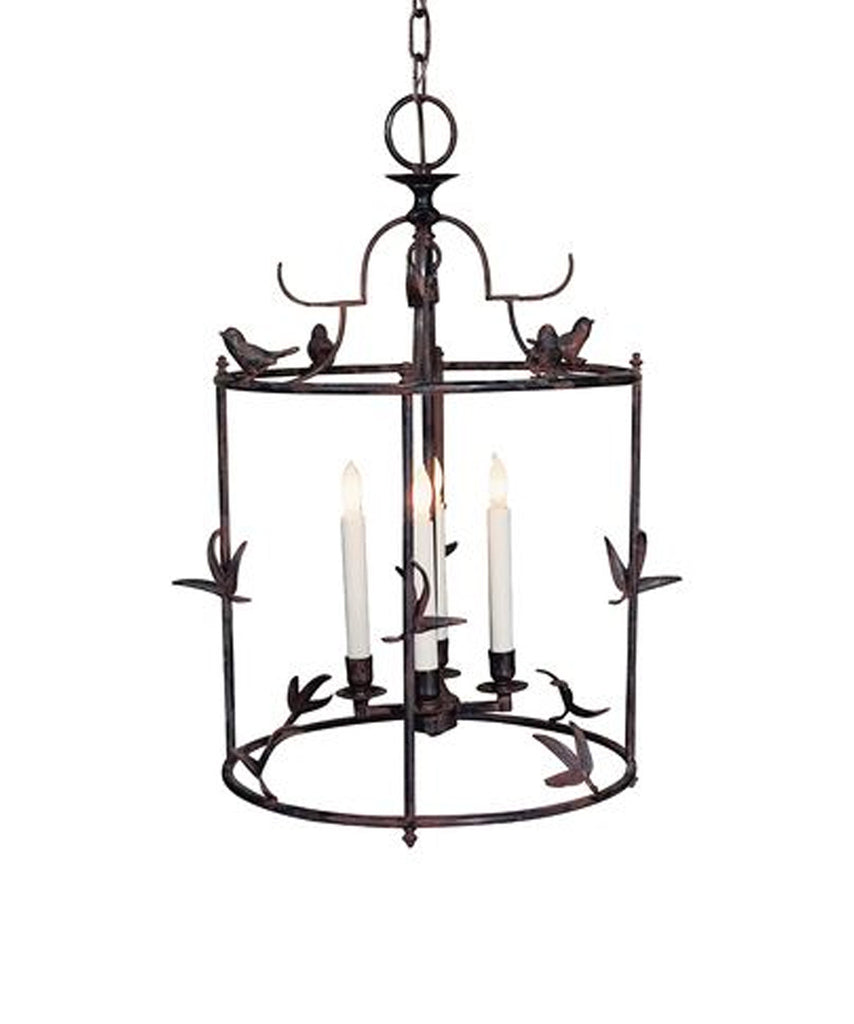 Diego Grande Classical Perching Bird Lantern, Rust w/ Verdis Accent